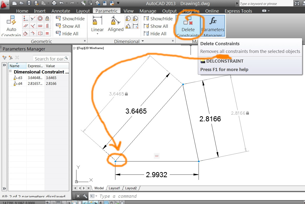 Solved: Deleting ONE of the constrains (not all), - Autodesk ... on
