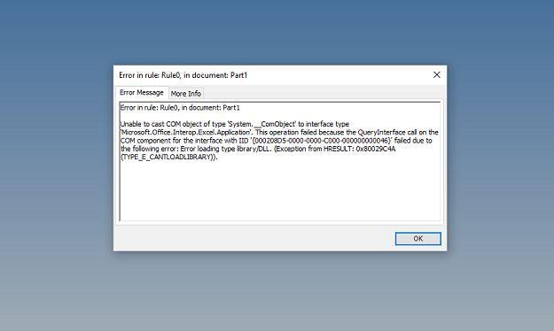Solved: iLogic Export to Excel Error: Error loading type