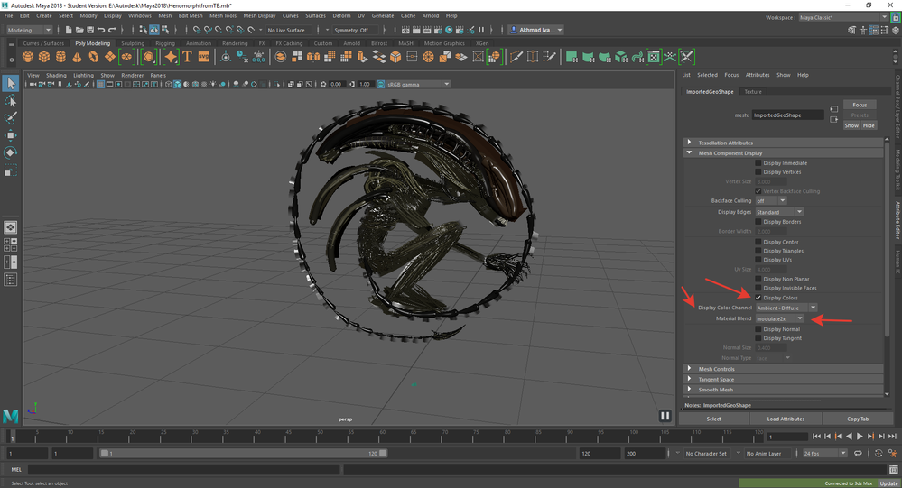 Export vertex colors with fbx/obj model from Maya - Autodesk
