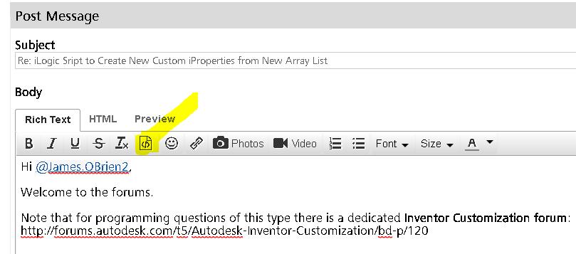 Solved: Inventor iLogic Script to Create New Custom