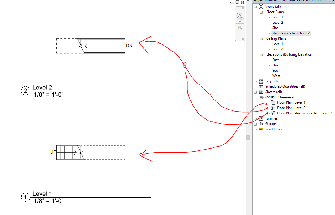 Solved: Stairs below level, How do I add a cut line? - Autodesk