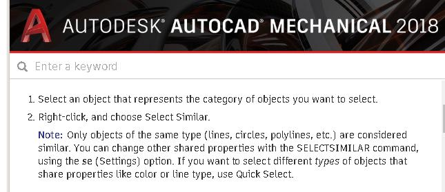 SELECT SIMILAR Command is not working as it should  - Autodesk