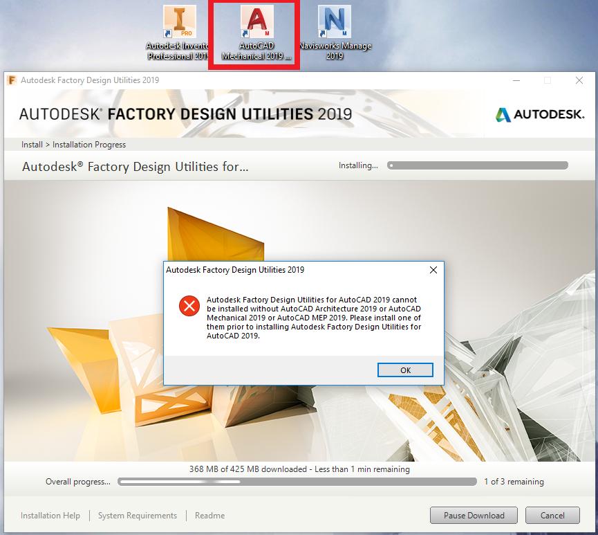 ERROR!! Factory 2019 for AutoCad installation problem - Autodesk