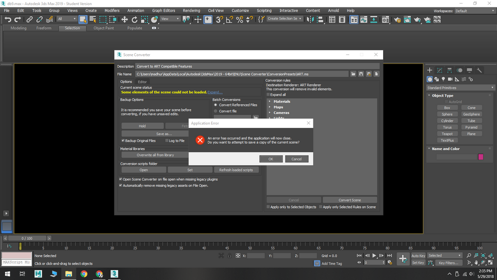 3ds Max 2017 Crashing on scene converter - Autodesk Community- 3ds Max