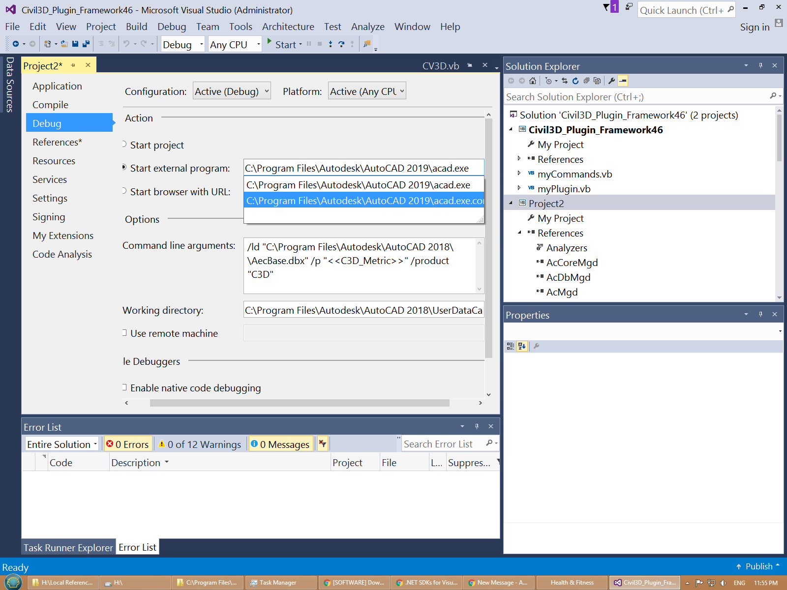 Setup Visual-studio-2015-based solution to work with Civil 3D 2019