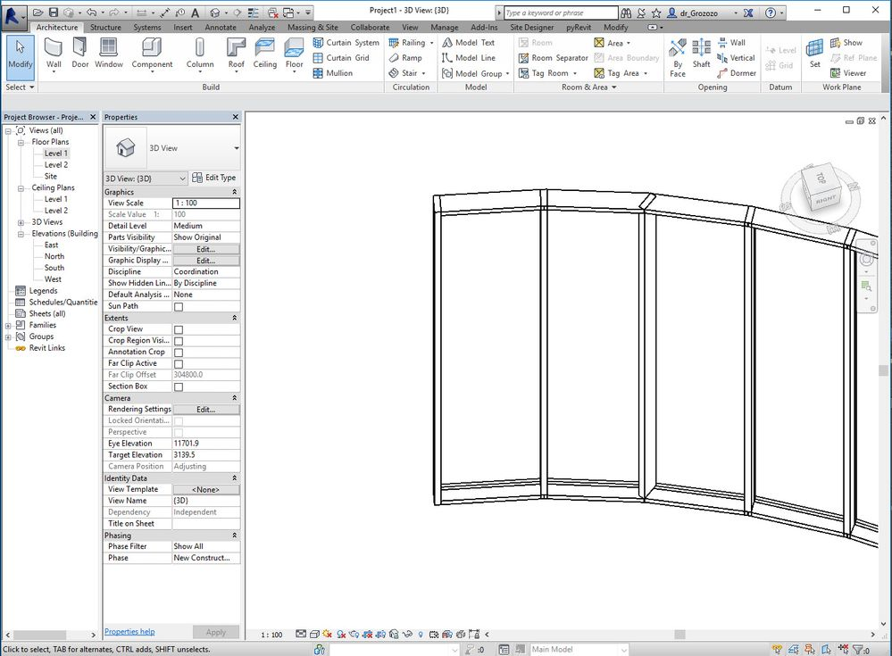 How To Create Curved Curtain Wall And Change The Center Autodesk