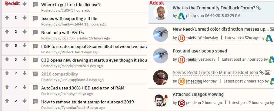Seems Reddit gets the Minimize Bloat idea - Autodesk