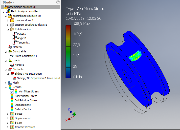 Solved: Inventor Stress Analysis Hertz Contact of Wheel and