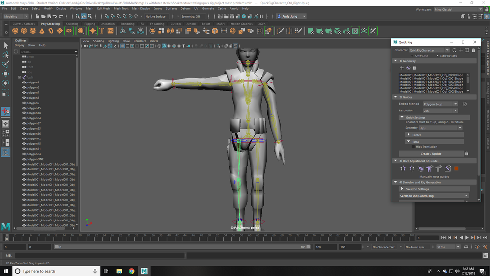 Quick Rigged Model Meshes aren't connected - Autodesk