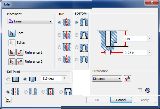 Hole Feature - Top and Bottom of Hole Options - Autodesk
