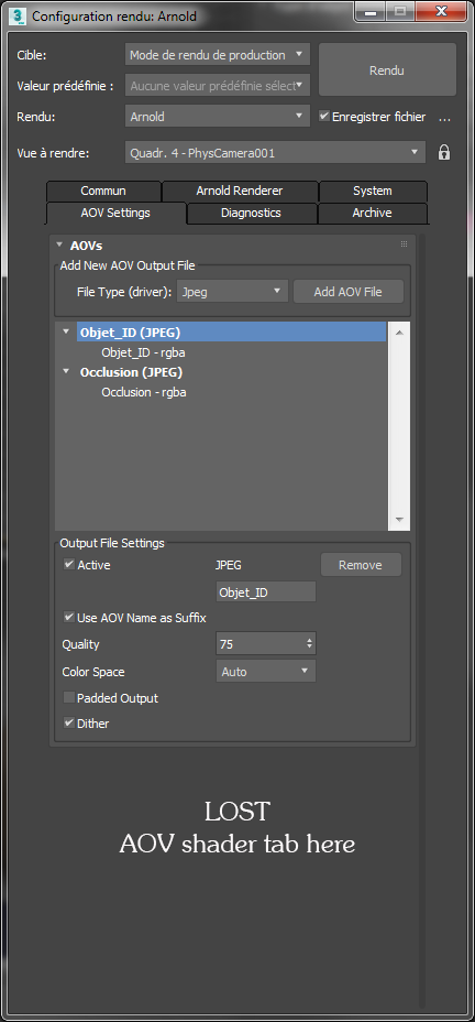 Solved: AOV Shader tab missing on Arnold render settings - Autodesk
