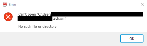Solved: Error when trying to simulate  (Can't find * sch sim