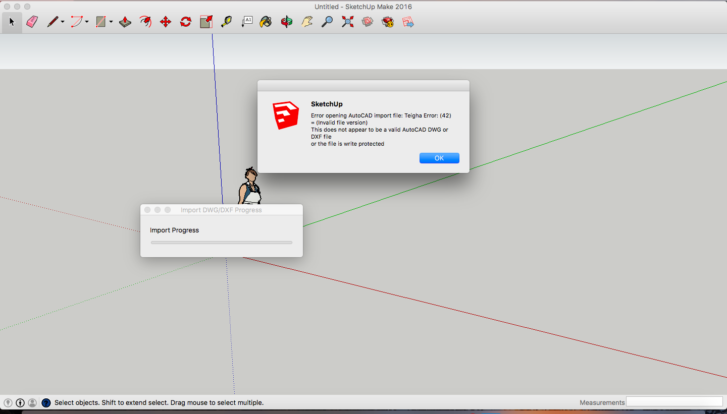 Solved: Shows 'Error opening AutoCAD file' when import to Sketchup