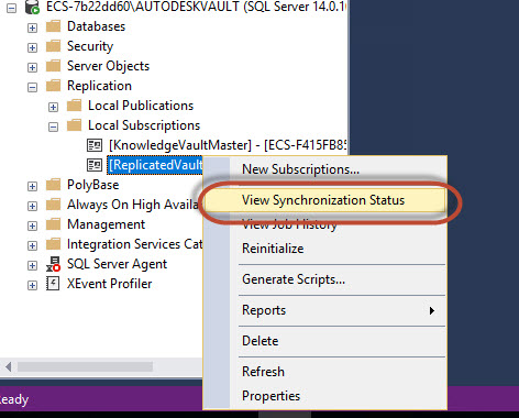 View synchronization status sql server replication