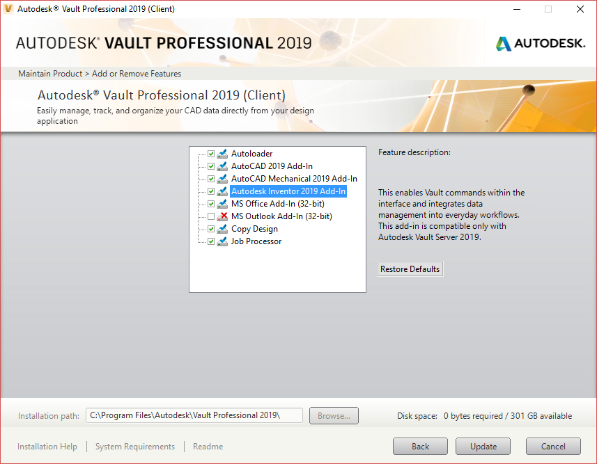 Solved: Vault 2019 Basic MS Office 365 (2016) Client Addin