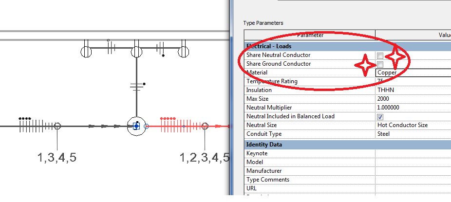 Multi circuit wire tick marks autodesk community revit products after that i selected one of the wires and clicked edit type and unchecked the options for share neutral and also share ground after that i clicked apply greentooth Image collections