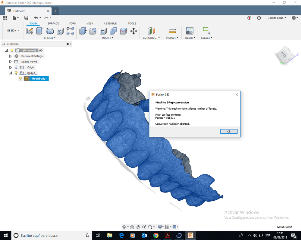 Mesh to BRep has been aborted - Autodesk Community
