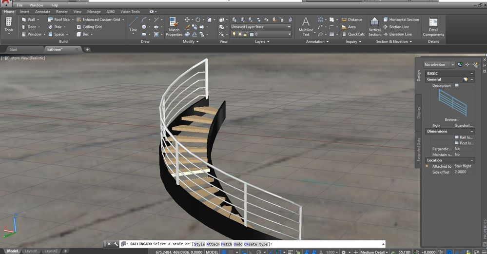 Solved: Railing not attaching to inner stair stringer in AutoCAD