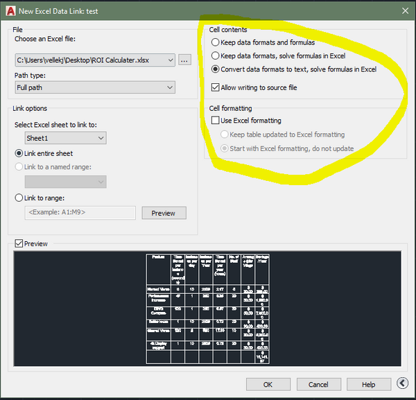 Linked excel text into Autocad table is not changing a Table