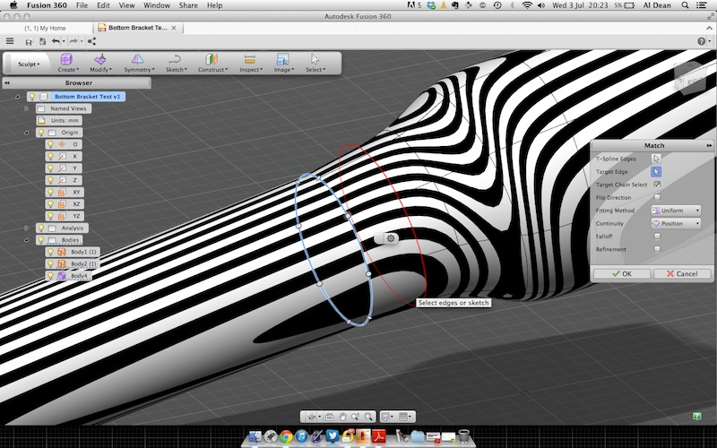 Video match t spline edge to a sketch or a surface for T spline architecture