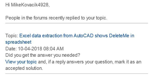 Excel data extraction from AutoCAD shows DeleteMe in spreadsheet