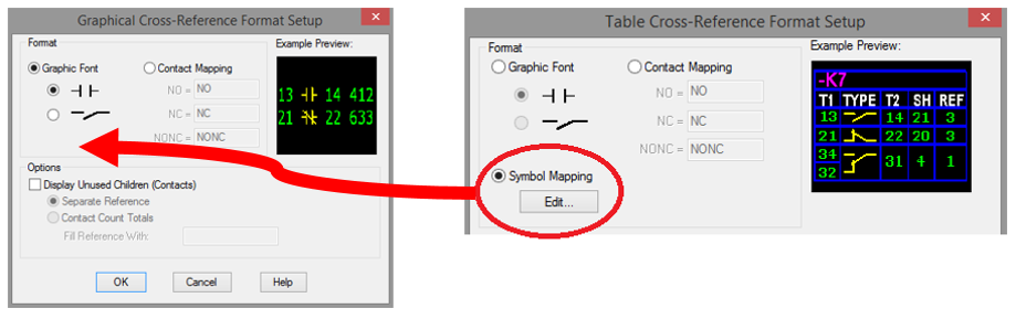 To add the Symbol Mapping in the dialog box Graphical Cross