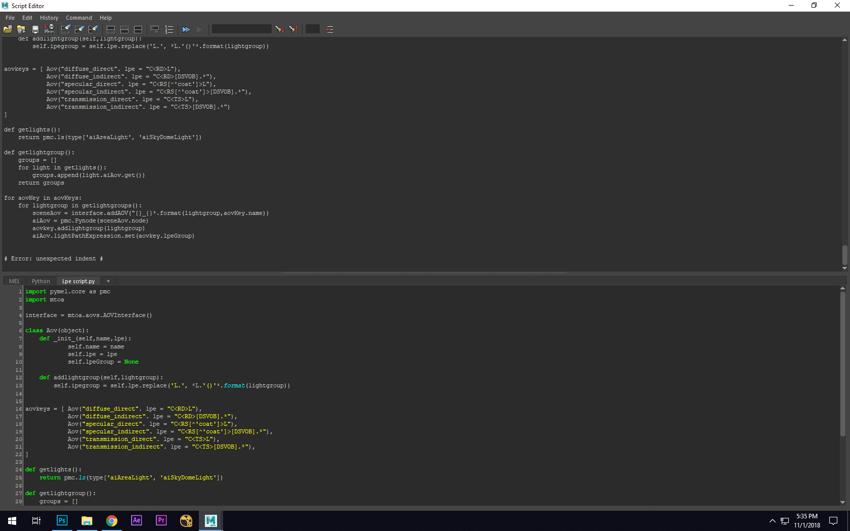 Solved: Getting unexpected indent error when executing python script