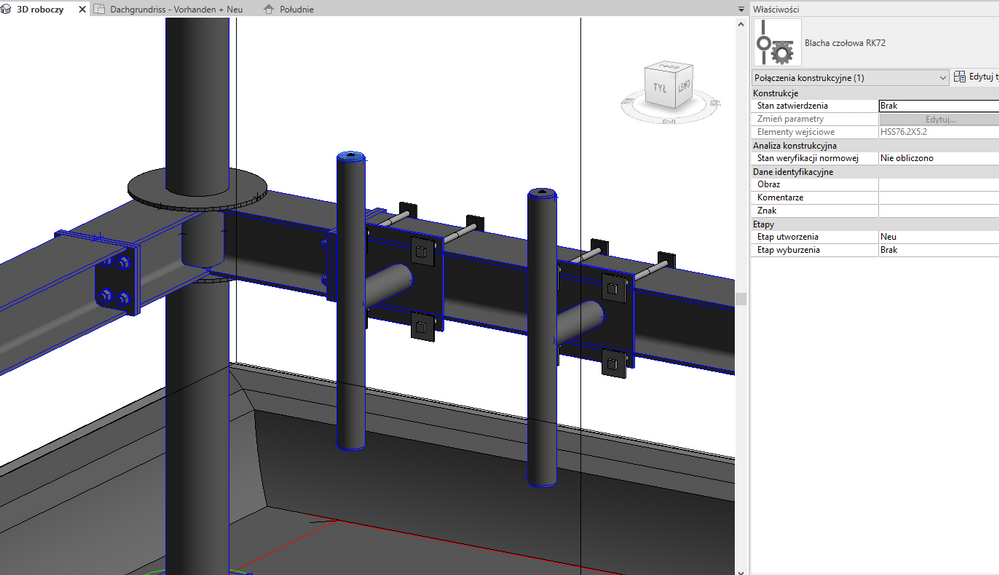 Parametric structural family - steel beams/columns with connections