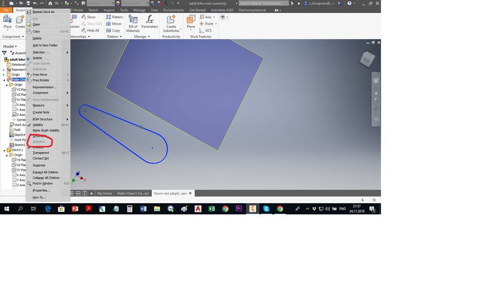 Inventor 2017 Adaptive Grayed Out Can T Set For Part In Assembly