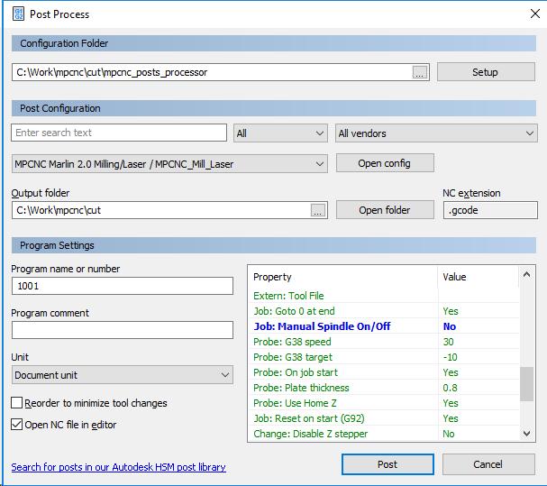 Post processor for marlin  a few questions - Autodesk Community- HSM