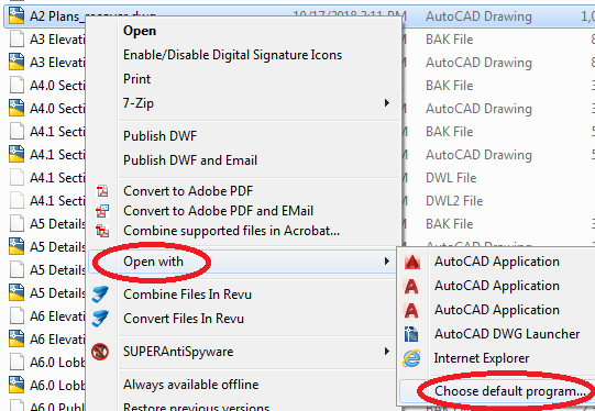 Solved: Opening a  dwg file with AutoCAD - not AutoCAD
