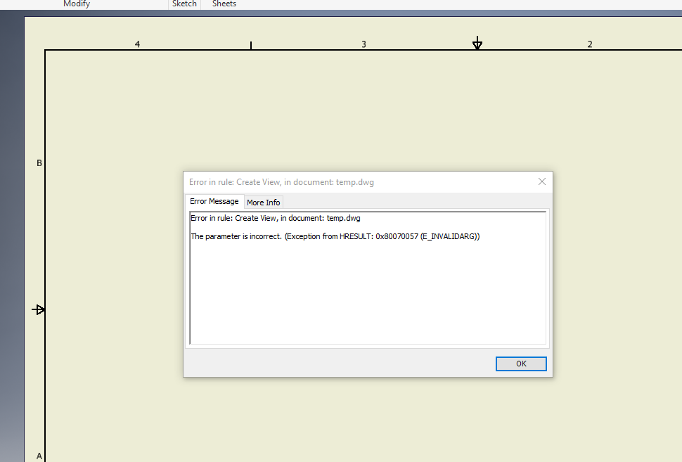 Solved: iLogic Error Message: The parameter is incorrect
