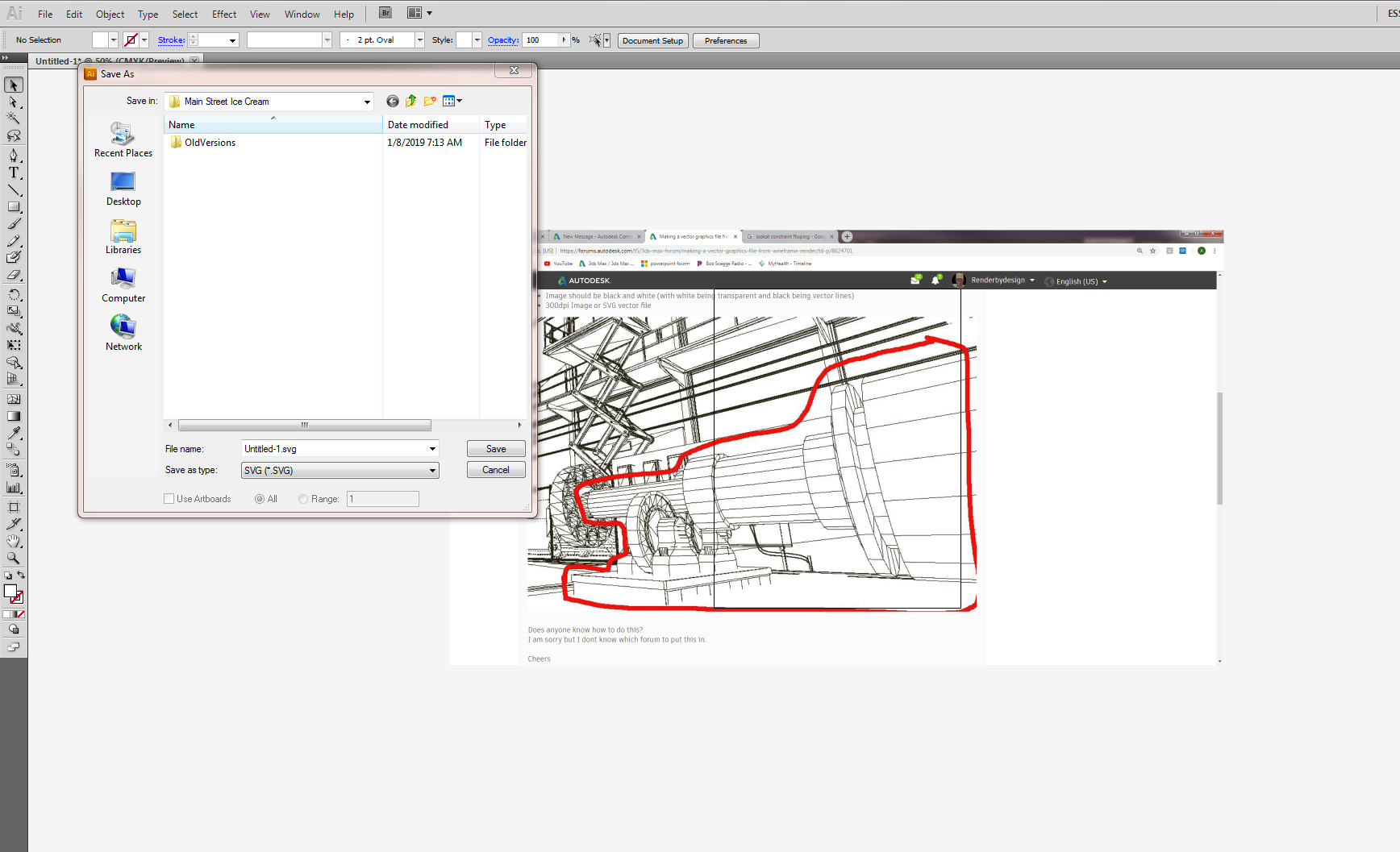 Solved: Making a vector graphics file from wireframe render