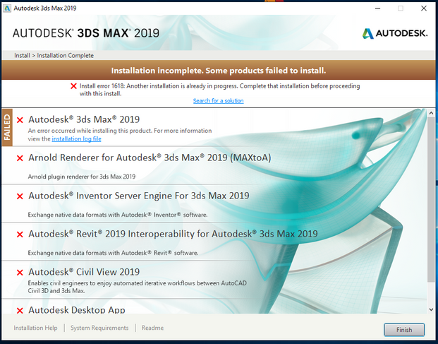 Solved: 3ds max 2019 Install error 1618 - Autodesk Community- 3ds Max