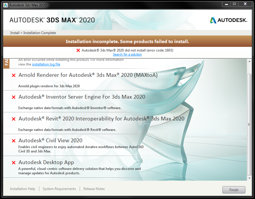 3DS Max 2020 Installation Complete, some products have failed to
