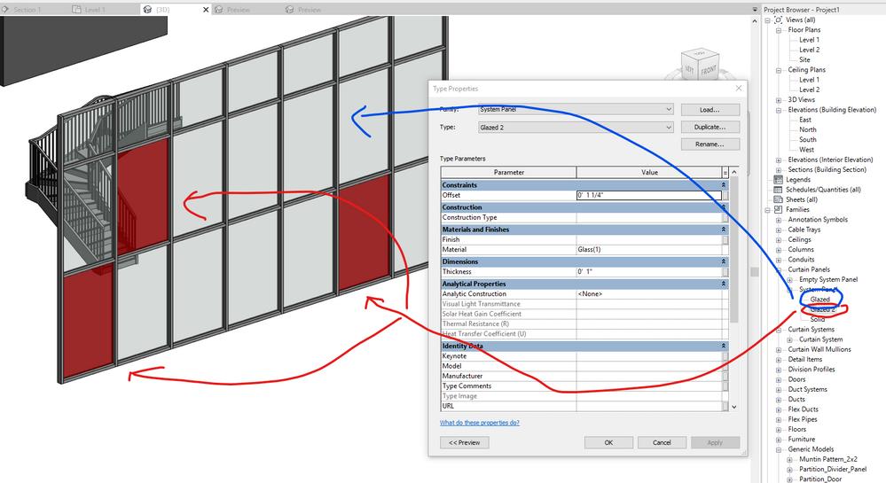 Change curtain wall glazing type - Autodesk Community- Revit