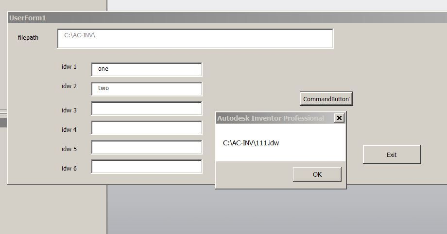 Inventor VBA UserForm to open a file - then close after