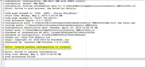 Inventor Cam   Error: Invalid machine configuration in toolpath