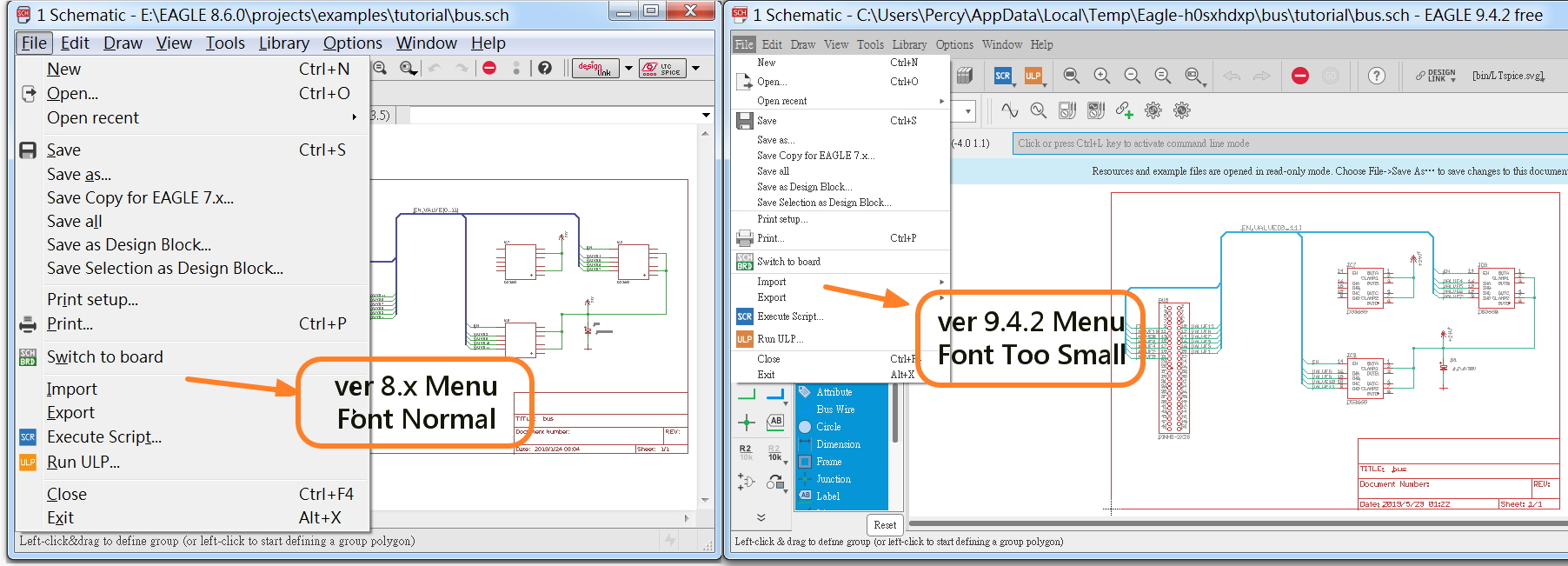 Menu Font is too samll to see ? - Autodesk Community- EAGLE