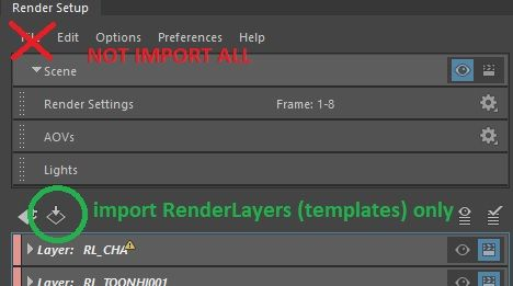 Import 'selected' renderlayers using python - Autodesk