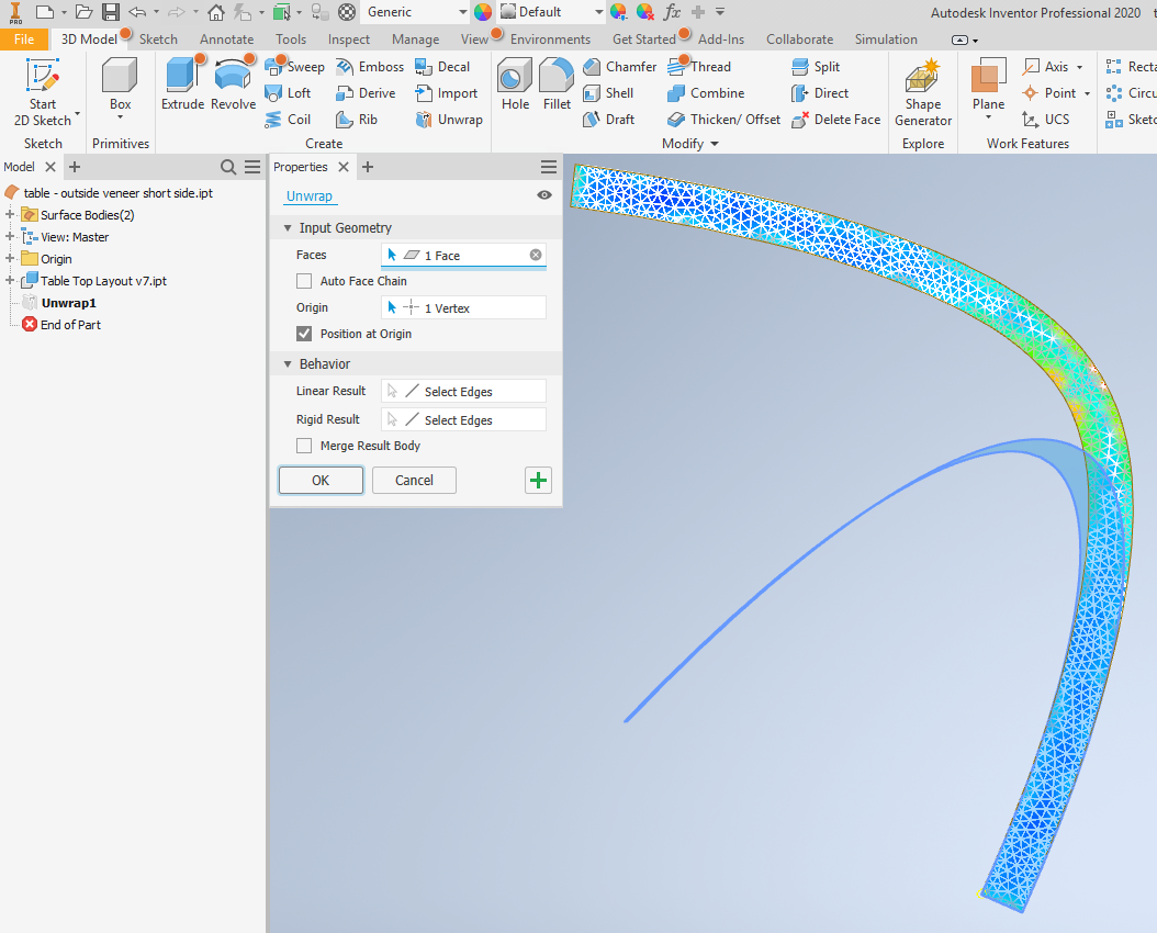 3D to 2D - Flattening surfaces or creating developable