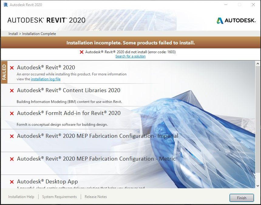 Revit 2020 installation error 1603 - Autodesk Community