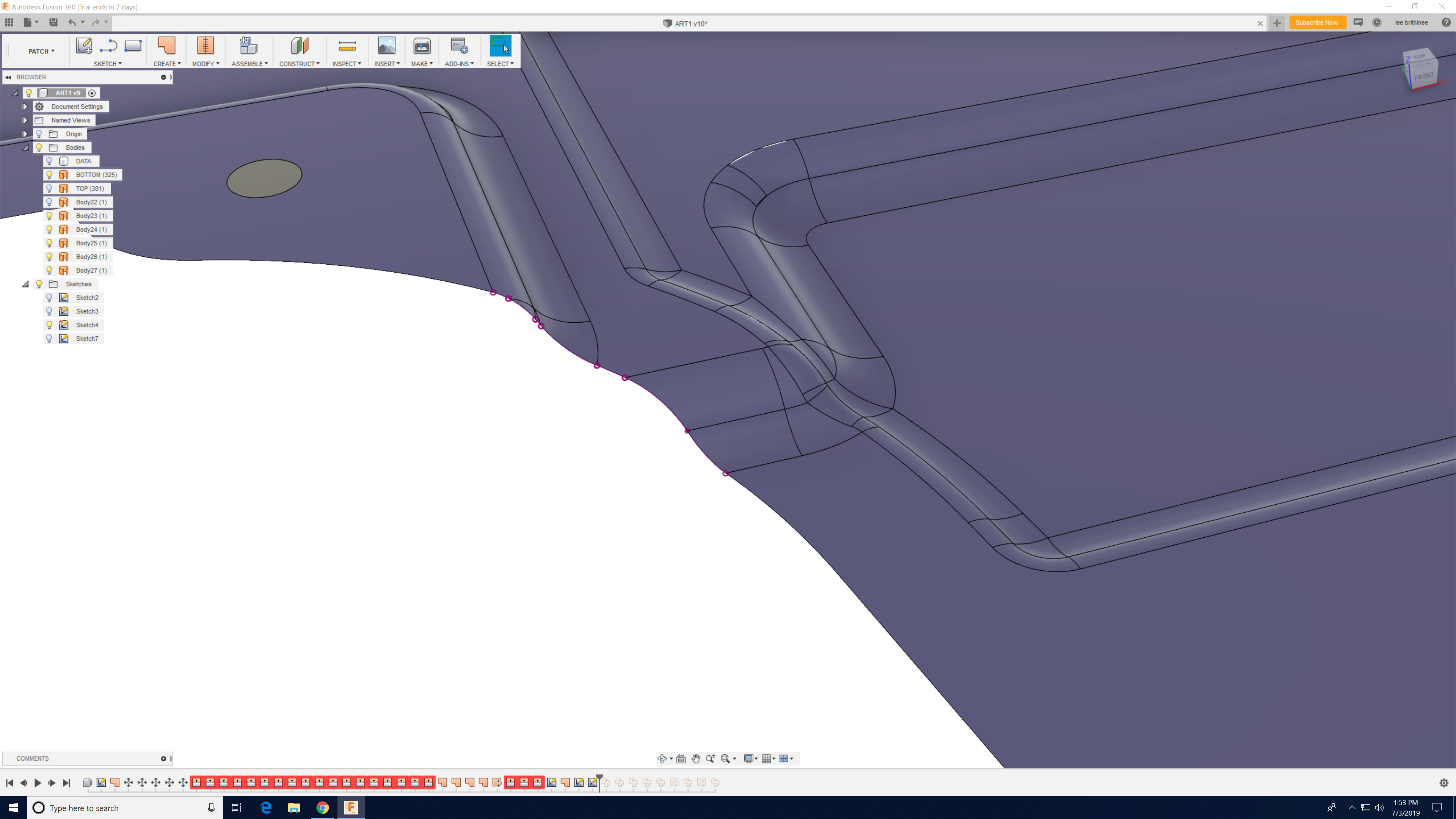 Solved: How to extrude a 3D curve in a specific direction
