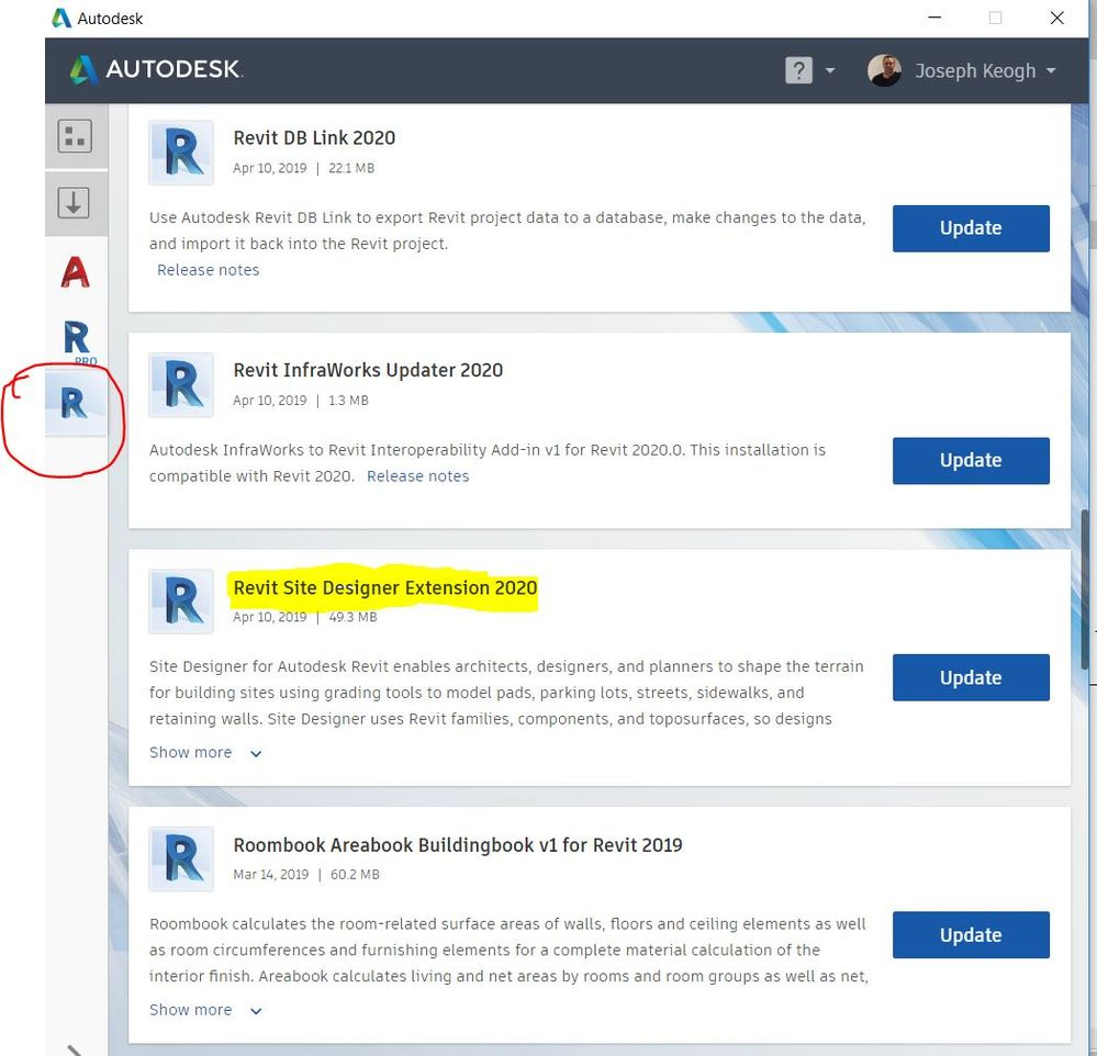 Solved: Can't find Revit 2020/2019 site designer in my product