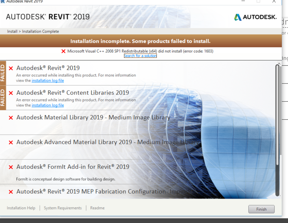 revit 2019 fail to install 1603 error , student my new