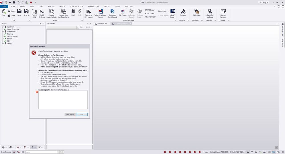 error while Exporting Revit 2020 to Tekla Structural