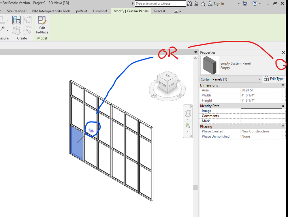 Empty system panel - change back to glazed - Autodesk Community