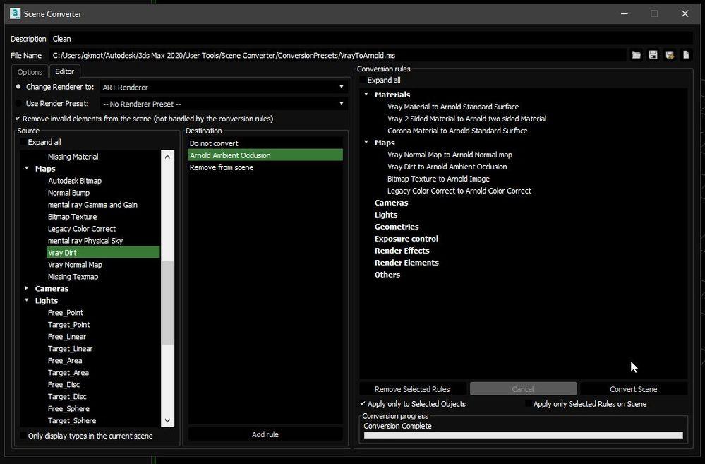Vray & Corona to Arnold Scene converter scripts - Autodesk
