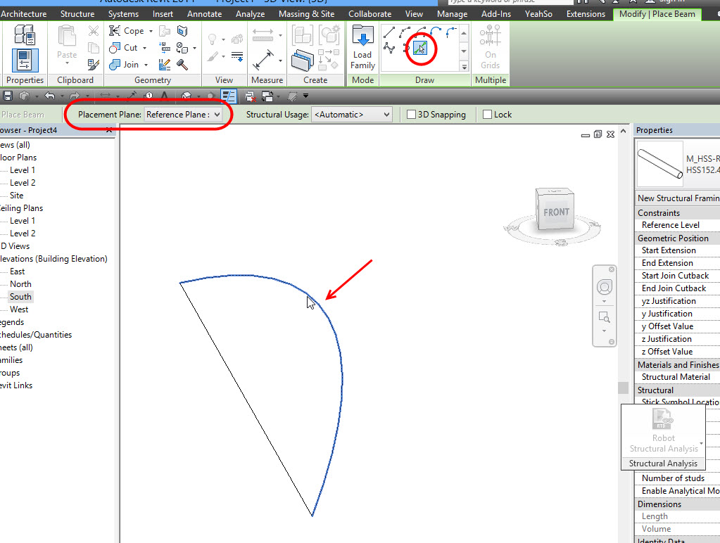 how to show beams in plan in revit