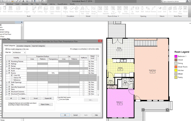 Solved: Revit LT - Room colour scheme transparency? - Autodesk